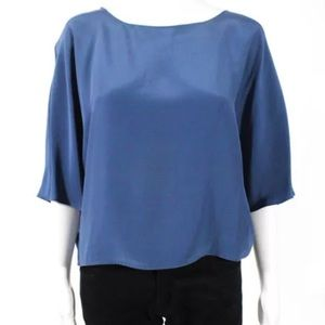 Vince Blue Silk Blouson Blouse Top S 4 6